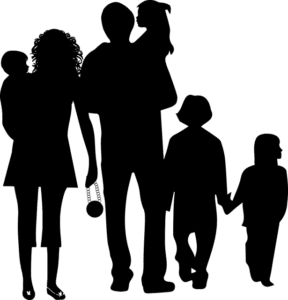 große Familie Schattenbild