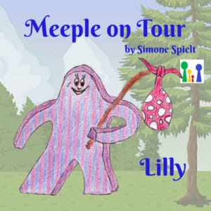 Meeple on Tour – Lilly der lila gestreifte Wandermeeple