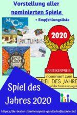 Spiel des Jahres 2020 – Vorstellung aller nominierten Gesellschaftsspiele
